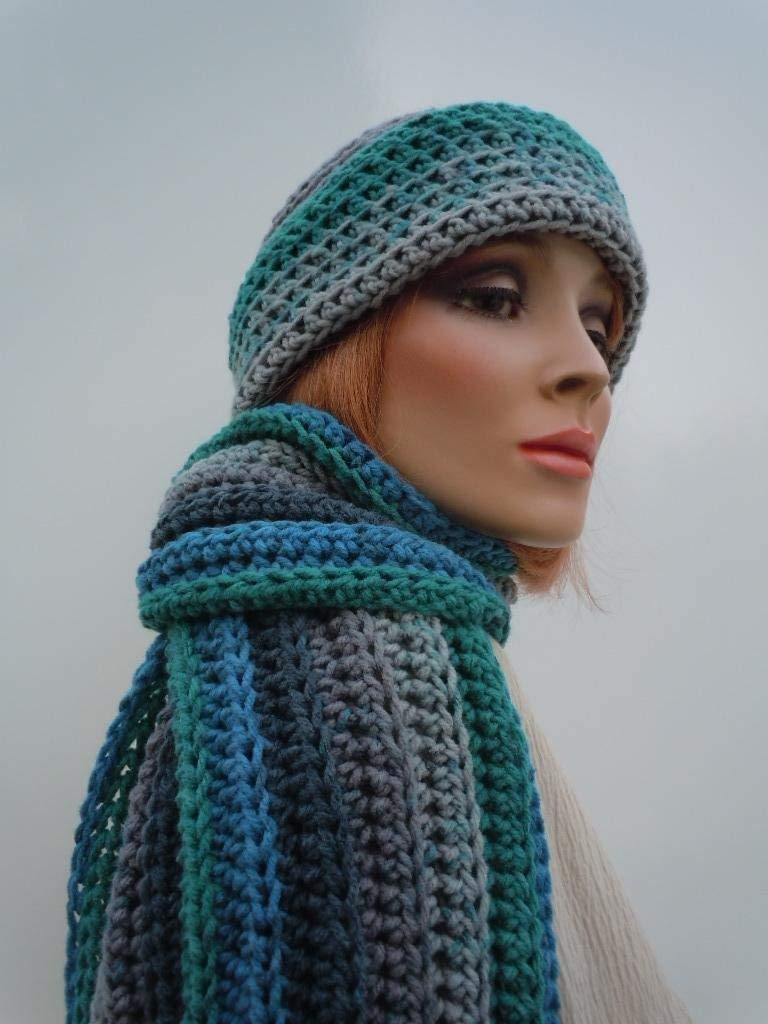 Men Hat Scarf Set, Gray Blue Green Scarf, Multi Color Hat Scarf Crochet Hat Scarf, Cold Weather Hat Scarf, Winter Hat and Scarf