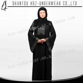 Zakiyyah MD Z014 New Arrival Black Abaya Sleeves Designs with Black Stone and Sequin Designs Long Sleeves Muslim Kaftan