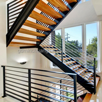 Double Steel Stringer Open Riser Compact Stairs Staircase