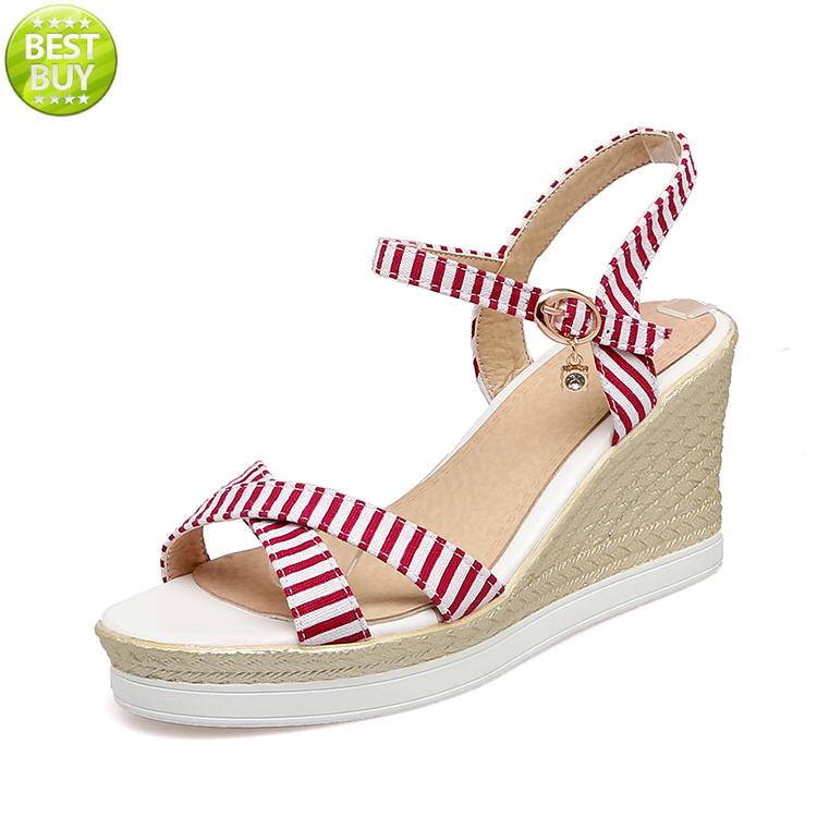 cute girls canvas upper wedges ladies stylish korean platform sandals