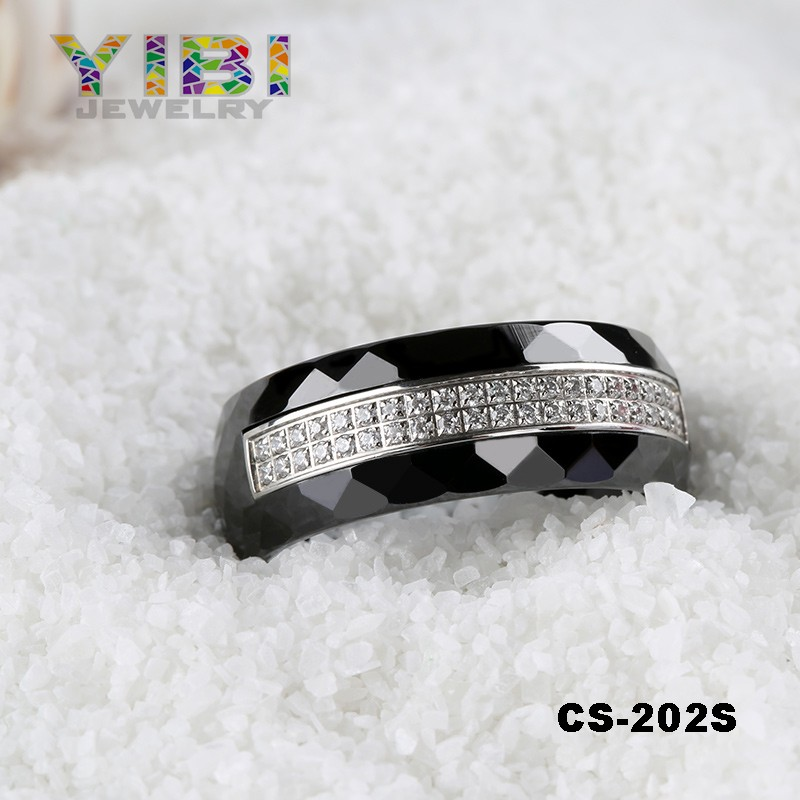 Jewelry Factory Wholesale The Latest Design CZ Inlaid Ceramic 925 Silver Engagement and Wedding Ring