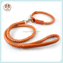 Rolled Leather Braided Dog Collar and Walking Leash Set For Medium Large Pet