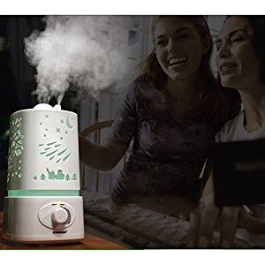 Aromacare 1.5L Aromatherapy Humidifier, Portable Essential Oil Diffuser Aroma Air Purifier with 7 Color Changing LED Lights,Waterless Auto Shut-off for Bedroom/Kids Room/Spa/Baby-White