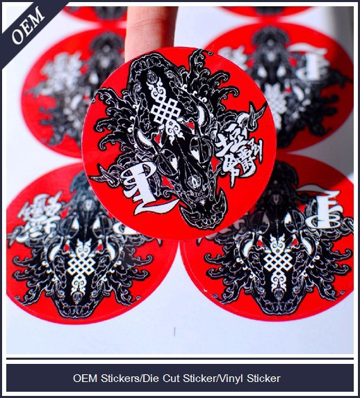 High quality custom printed die cut round stickers vinyl decals