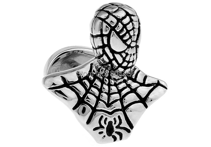 Free shipping Cufflinks For Men cufflinks black color novelty spiderman design copper material men cufflinks whoelsale&retail