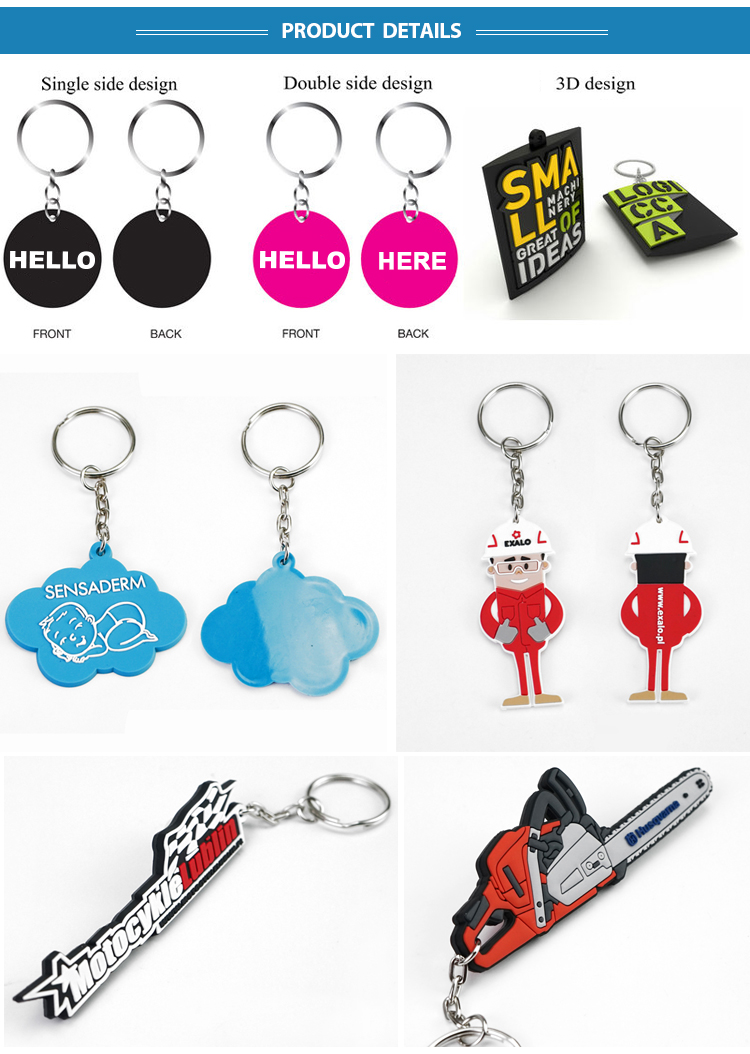 Custom own logo Beetles flexible 3d soft rubber PVC keychain