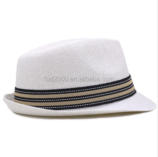 Wholesale summer paper straw felt fedora panama white wedding hat