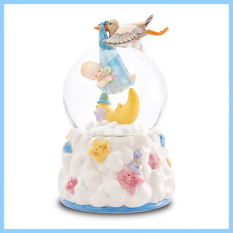 High Quality Polyresin Baby with bird and moon Snow Globe For Home Decoration