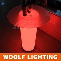 led glowing 60 round rotating glass dining table