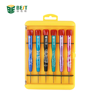 BEST-9900S 6pcs Aluminum alloy handle S2 Steel Precision Screwdriver set for Mobile Phone
