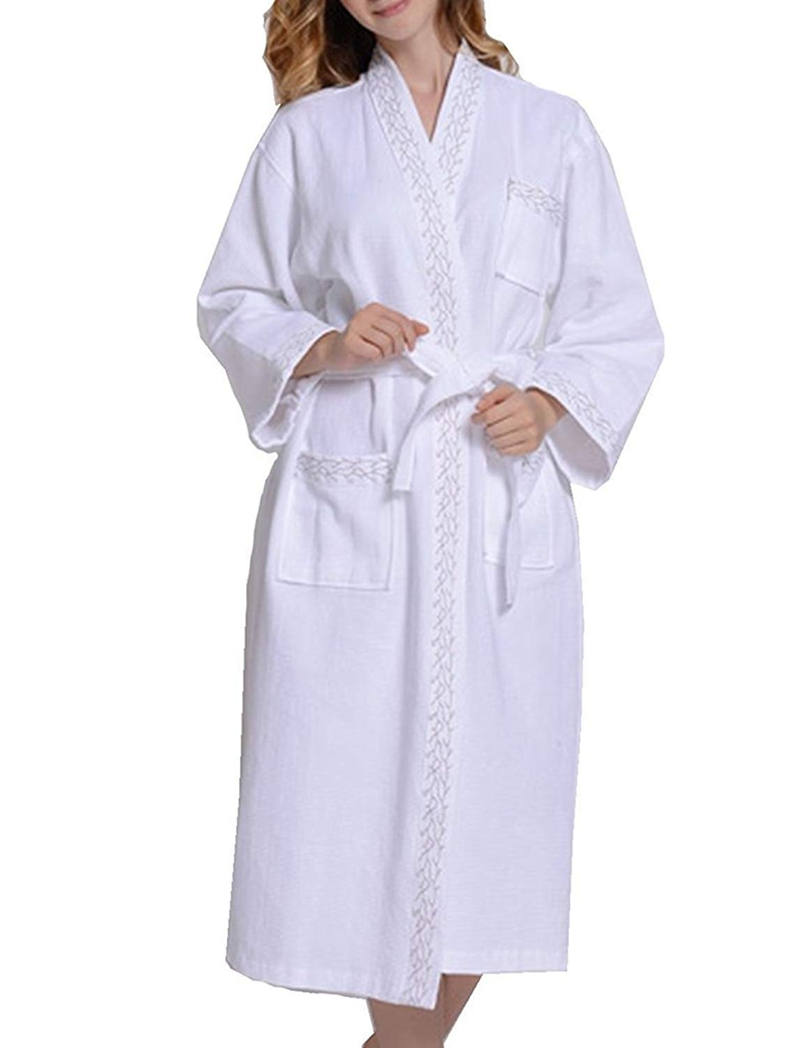 5560ea69fcb6d Get Quotations · Fortuning s JDS Luxury Embroidery Pattern Cotton Bath Robes  Dressing Gowns For Women   Men