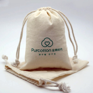100% Small Drawstring Cotton Bag Pouch Cotton Muslin Bag For Gift