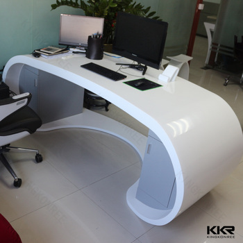 Modern Executive Office Desk For CEO / Marble Top Wooden Supported Carving  Writing Table