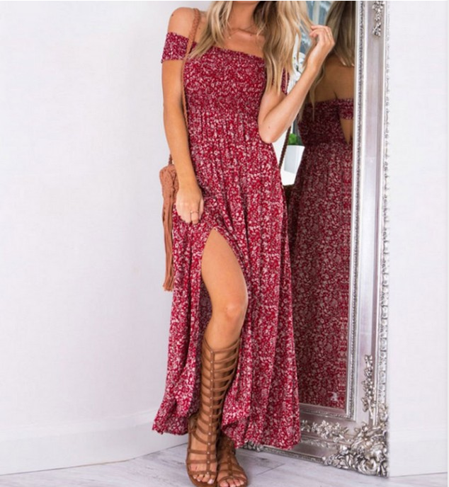 2018 Summer Long Dress Floral Print Boho Beach Dress Tunic Women Evening Party  Sundress Vestidos de festa XXXL