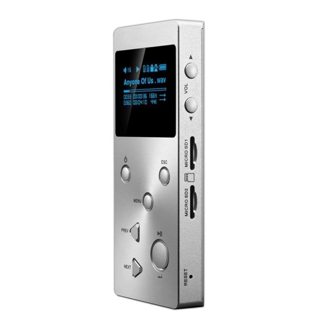 GBSELL HIFI MP3 Music Lossless Music Player with HD OLED Screen APE FLAC ALAC WAV WMA OGG,Bigger Capacity Black Sliver