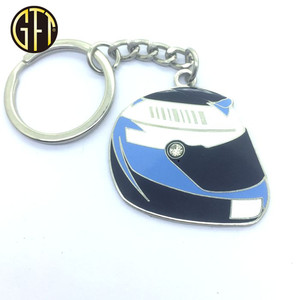 custom logo cool helmet shape hard enamel metal keychain
