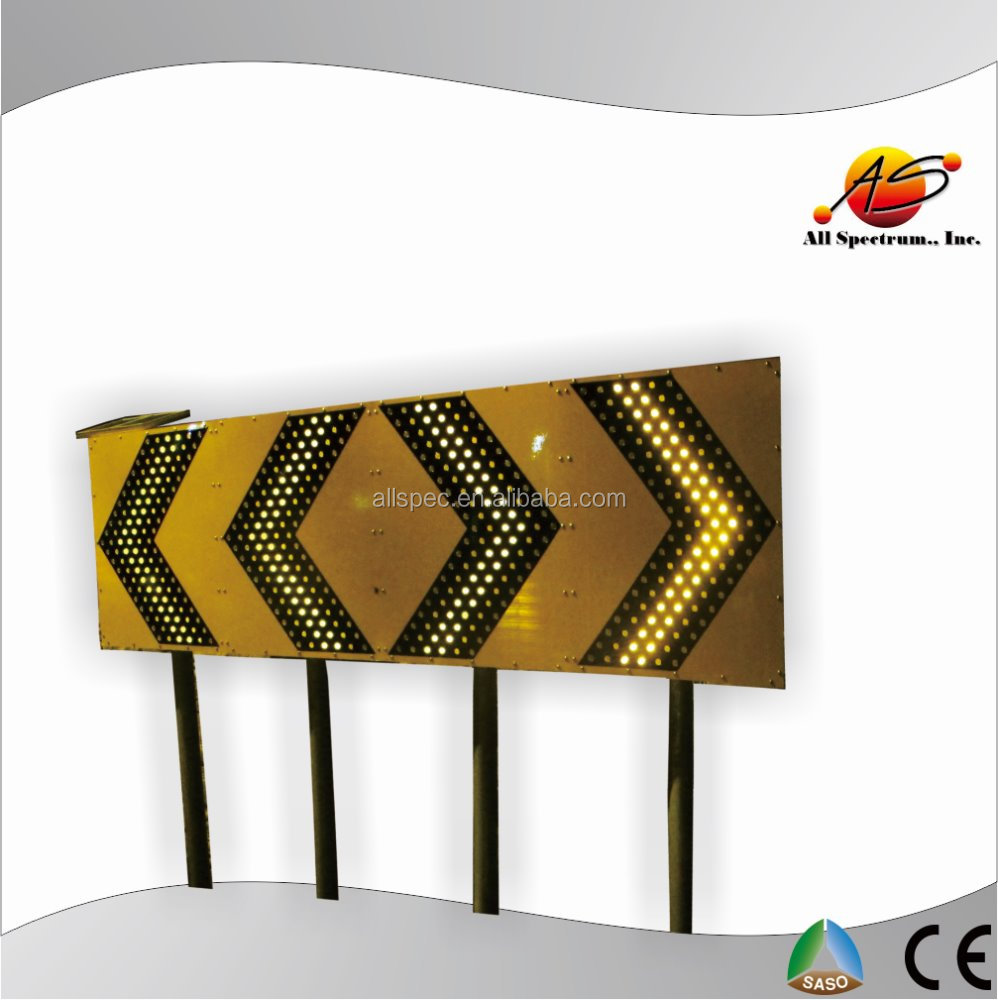 Two opposite roadway safety warning chevron sign board solar power flasher solar led