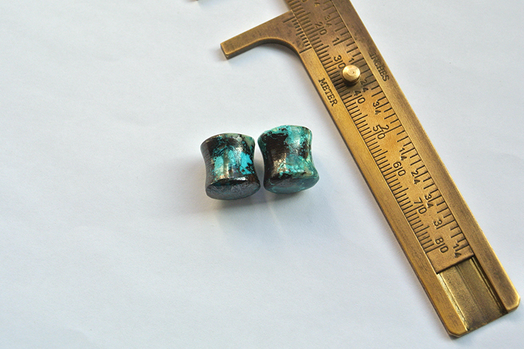 Gemstone Factory Made Ear Plugs Chrysocolla Stone 11mm 1.5 flare 14 thickness Convex