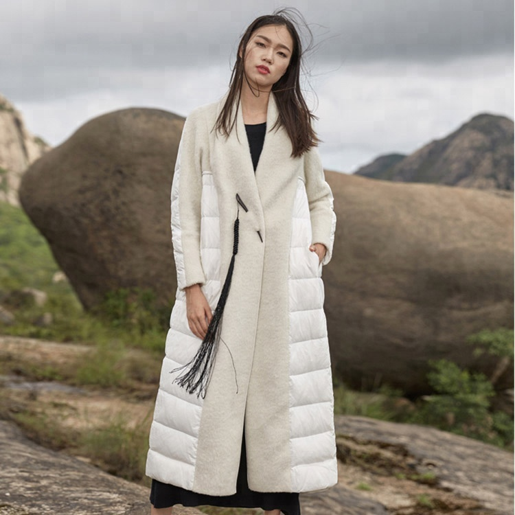 Thick long knee-length women's down coat loose large size wool co-opted white duck down coat