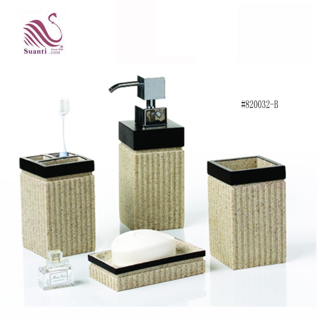 Customized Beige Color Bathroom Accessories Set  Soap Dish Dispenser and Resin Supplier