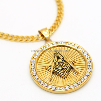 Mens masonic illuminati symbol 24k gold plated free mason pendant mens masonic illuminati symbol 24k gold plated free mason pendant and 275quot cuban chain necklace aloadofball Image collections