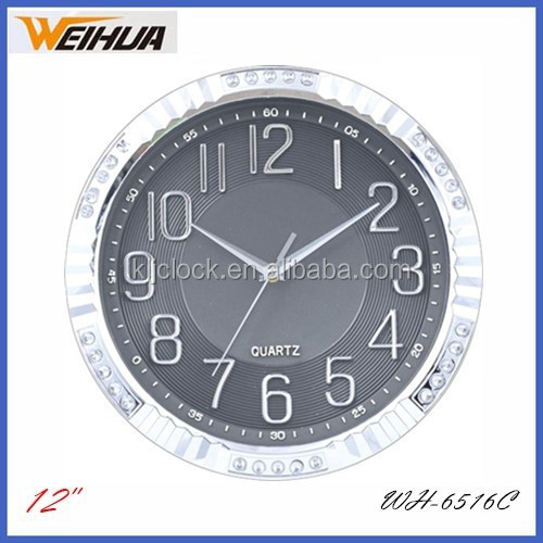 30cm diameter round wall clock with silver coating frame