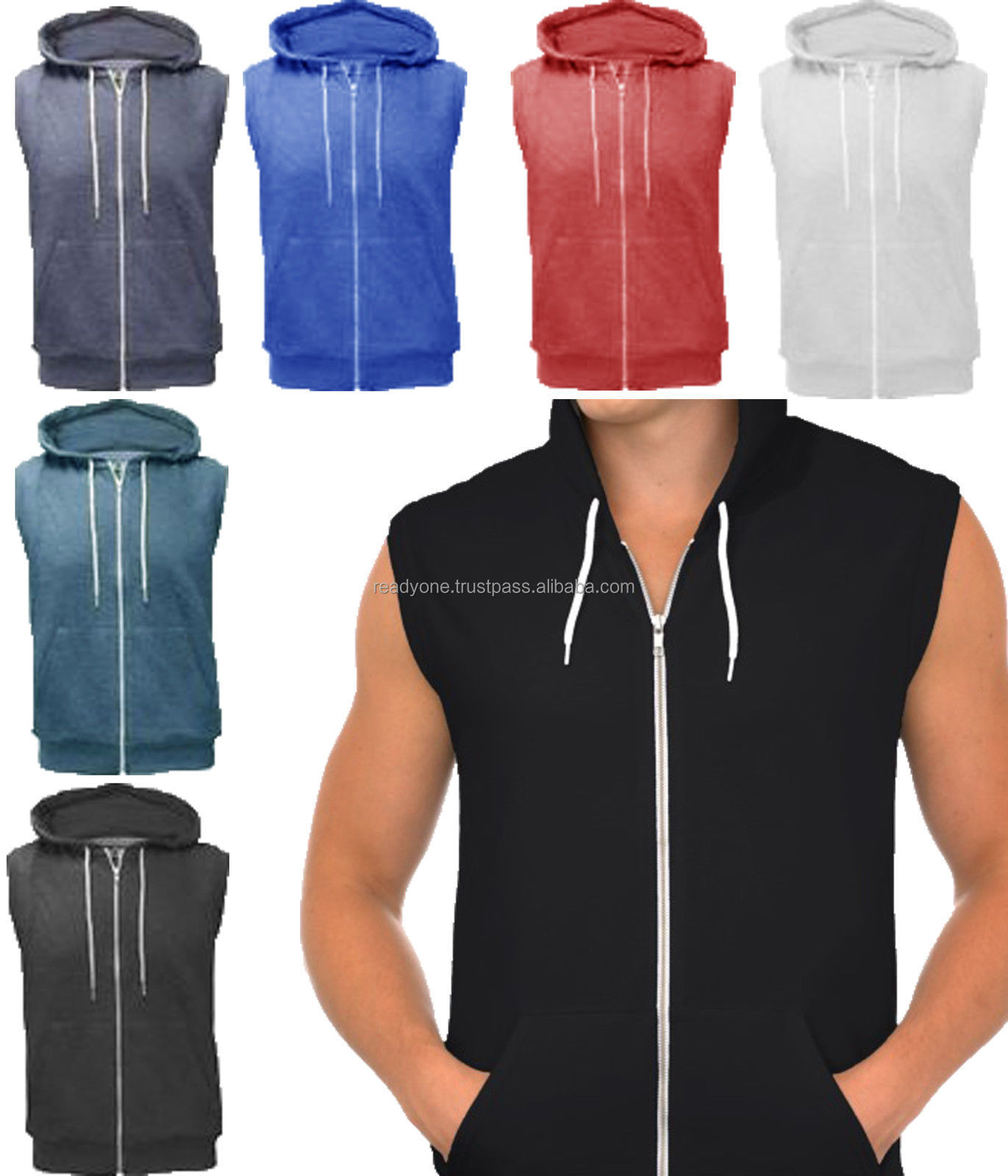 Sleeveless hoodie wholesale baggage clothing for Custom shirts and hoodies cheap