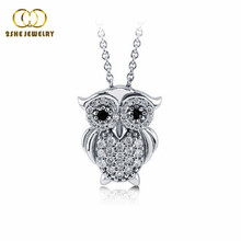 2SHE high quality fashion jewelry silver cz owl necklace
