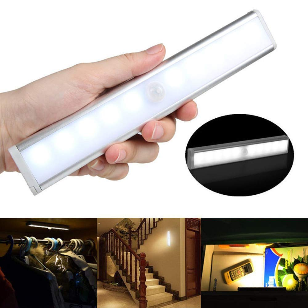 Gbell 1Pcs Infrared Sensor Light with 10 LED,Human Body Sensor Lights for Cupboard Bathroom Charging Style,Ship from US