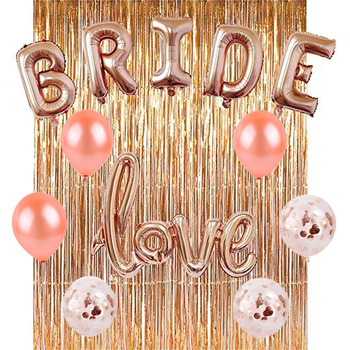 rose gold bachelorette party decorations kit bridal shower party supplies rain curtain