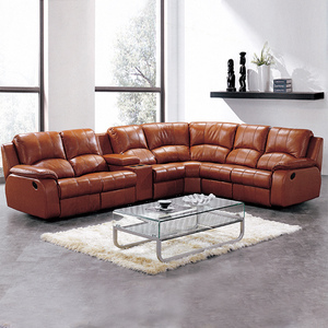 035 Modern luxury home furniture reclining L shaped sectional corner genuine leather couch 7 seater living room sofa set designs