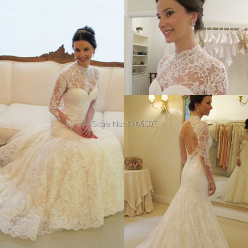 30 Exquisite Elegant Long Sleeved Wedding Dresses Chic: Fashion High Neck Long Sleeves Open Back Elegant Mermaid