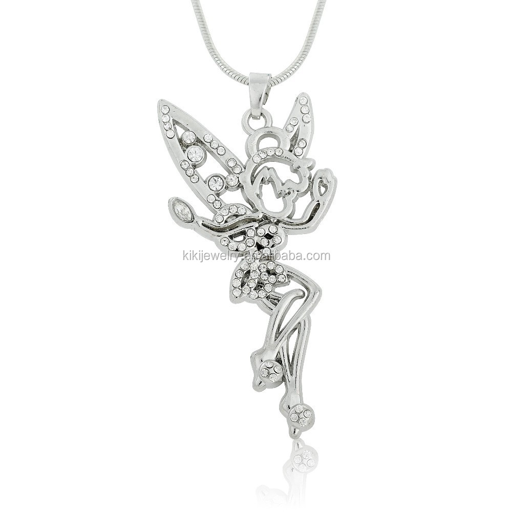 Eco-friendly Silver Plated Clear Crystal Ice-Skating Angel Wing Girl Pendant Necklace Jewelry
