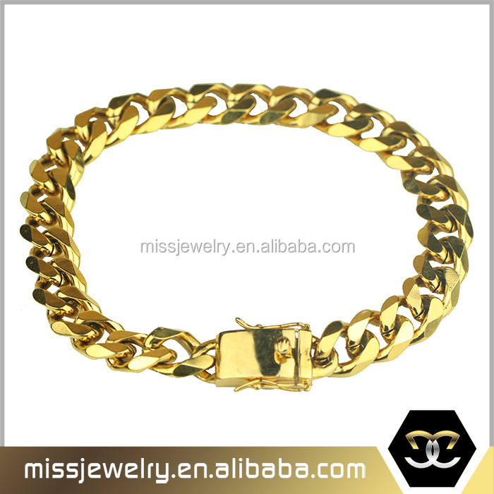 Box Clasp Stainless Steel Men S Gold Cuban Link Chain Bracelet Mjcb022 Product On Alibaba
