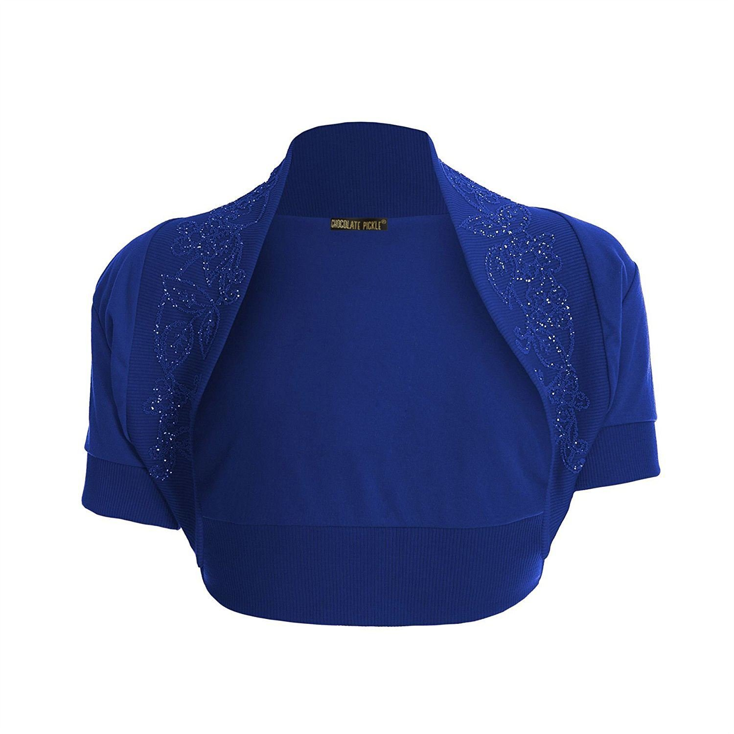 0da202b6011d Chocolate Pickle New ladies Short Sleeve Cropped Royal Blue Sequin Bolero  Shrug Cardigan Top S-