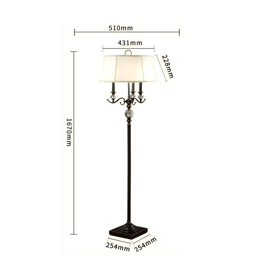 DEED Floor Lamp-Led Creative European Style Crystal Floor Lamp Living Room Retro Candle Type American Style Wedding Crystal Floor Lamp Lamps Eye Protection Vertical Table Lamp