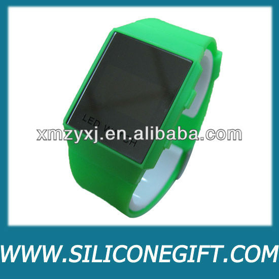 Green Mirror Men Lady LED Digital Silicone Sport Unisex Watch Gift Jelly
