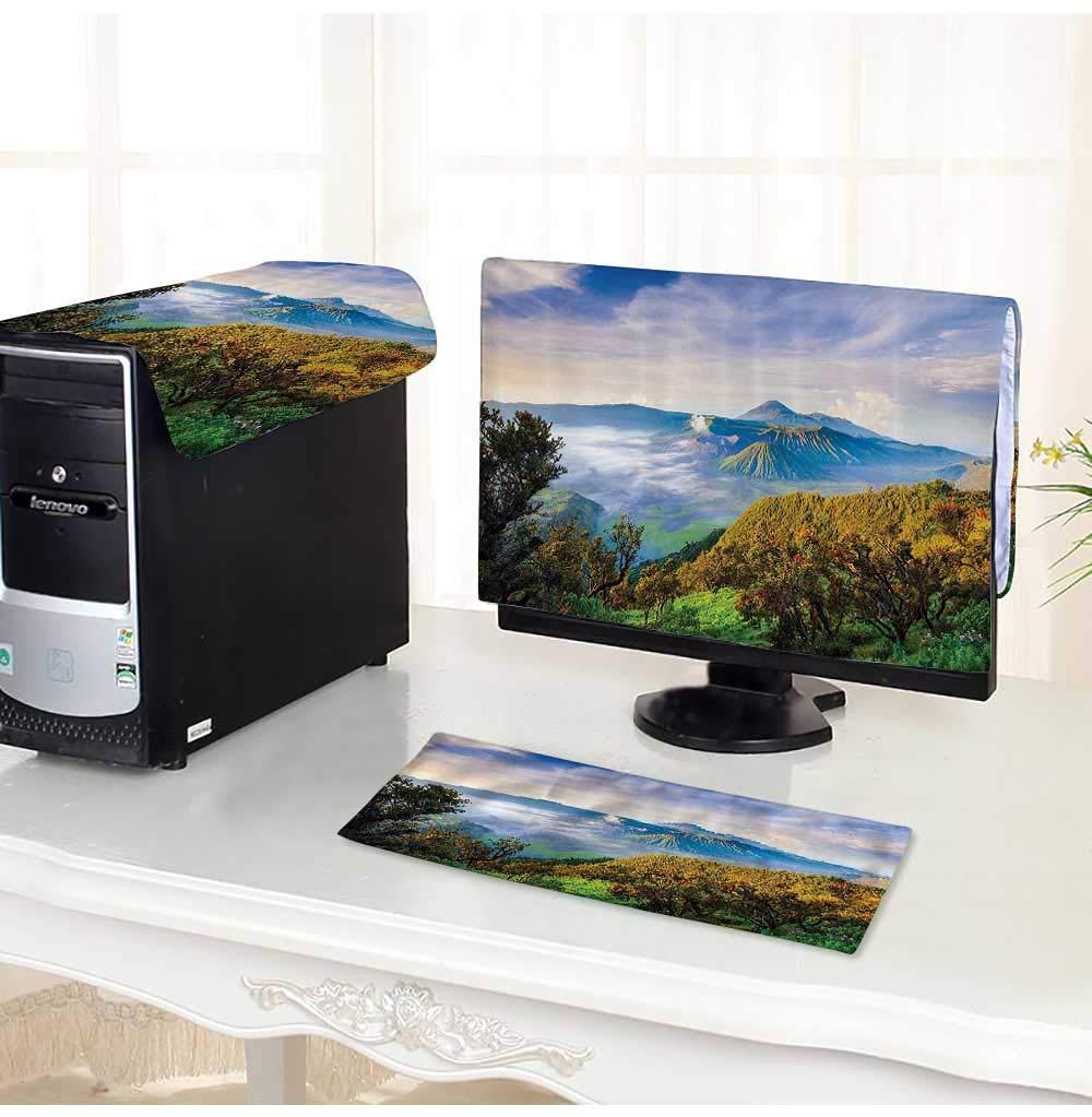 "Leighhome Computer dustproof Three-Piece Volcano Sunrise Active Adventure destinati Morning Mist ery Peak for LED LCD Screens Flat Panel HD Display /25"""