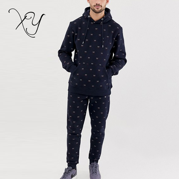 wholesale men all over printing gym wear tracksuit custom sweat suits cheap men's sportswear