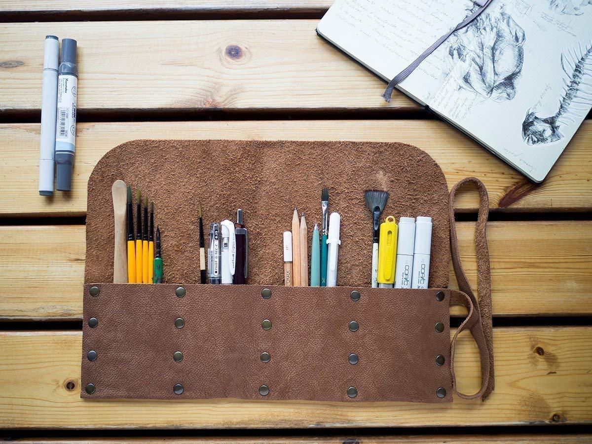 Genuine Leather Handmade Pencil Roll Artists Tool Bag Pen Case Dark Brown