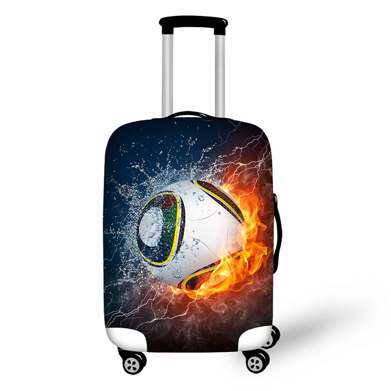 Custom burning basketball print spandex protective luggage cover for suitcase