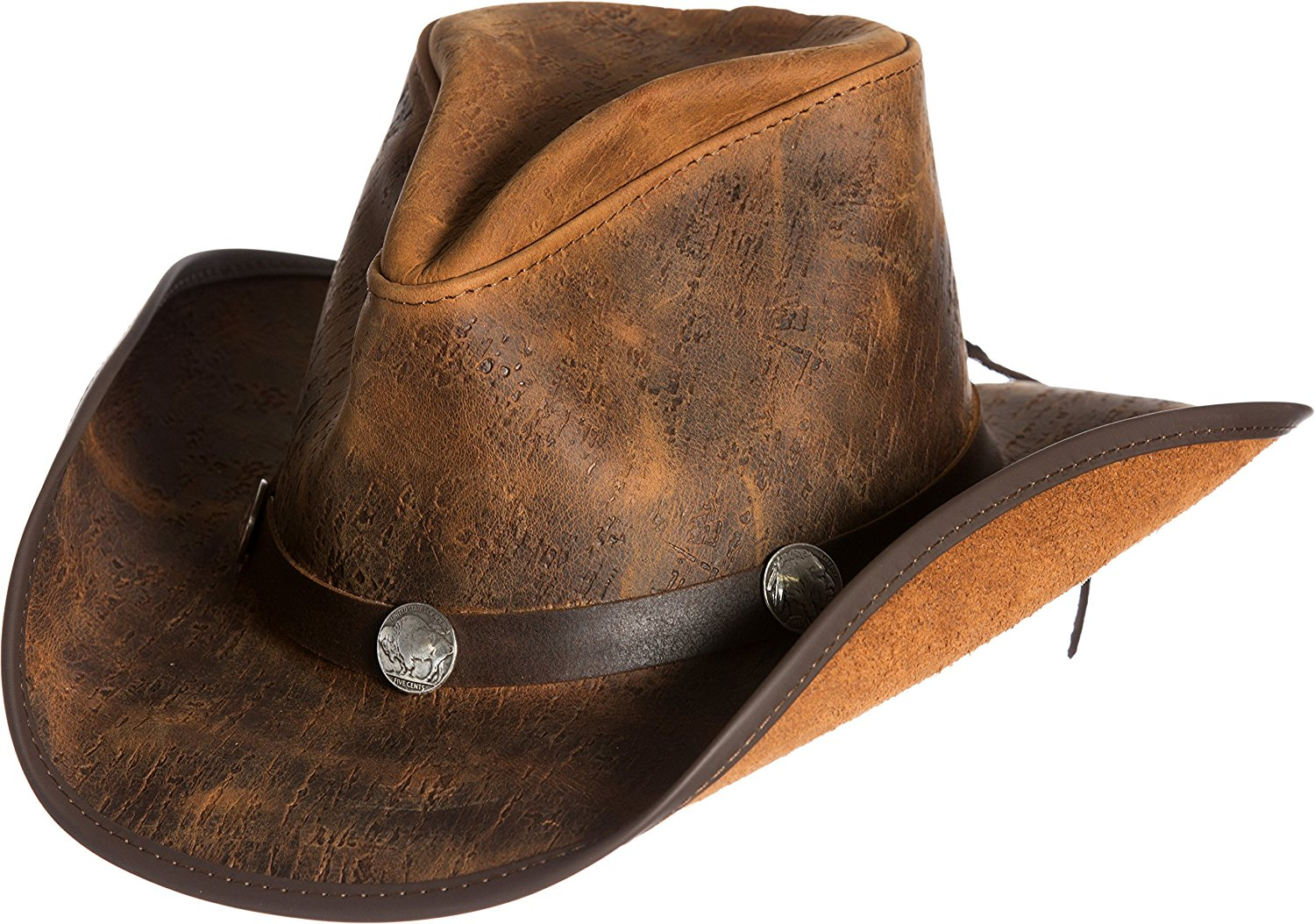 cfbcc175863c9 Get Quotations · Overland Sheepskin Co Cyclone Leather Cowboy Hat with  Buffalo Nickels
