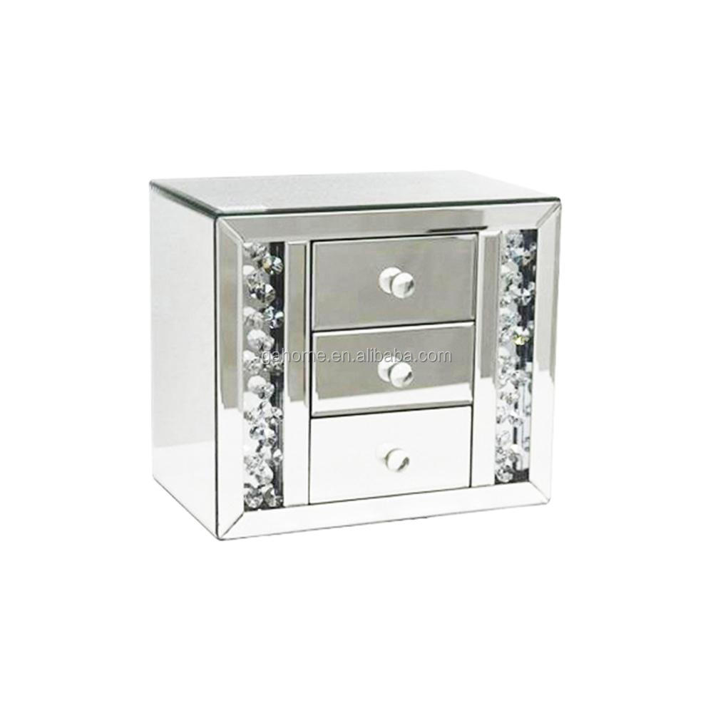 Girls fashional dressing crystal mirrored jewelry box with drawers