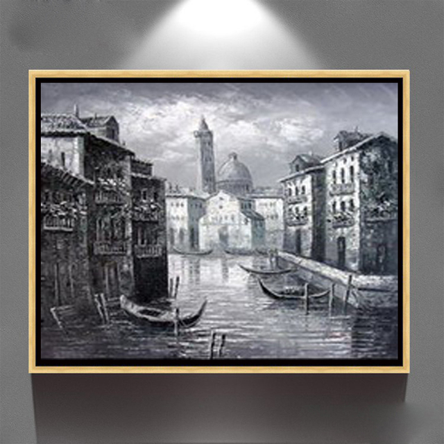 Wall Art Paris Street Red Tree Black And White Oil Painting On Canvas ZQ 29