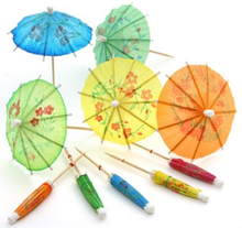 Chinese Party Supplier Handle Wooden Umbrellas Picks Party Favors USA