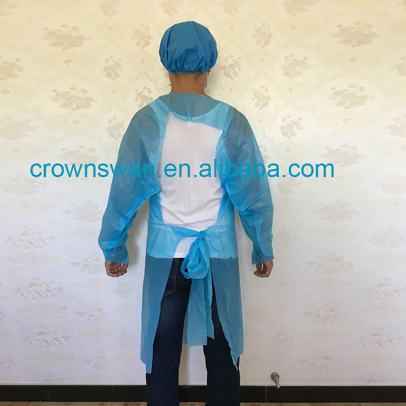 white color tie plastic disposable medical surgical cpe gown/cpe gown isolation gown