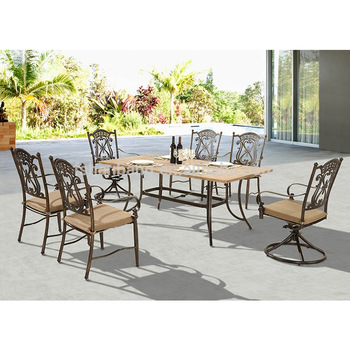 Calidad Premium Jardín Patio Terraza Cubierta De Aluminio Fundido Bronce Vida Acentos De Muebles Al Aire Libre Mesa De Mosaico Con Sillas Giratorias