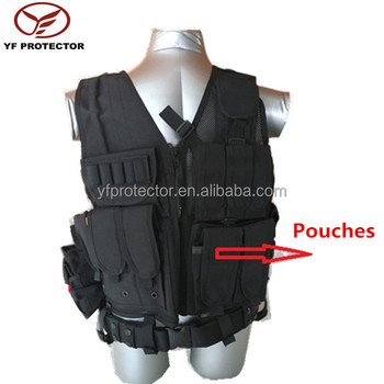 Black Tactical Combat Vest With Gun Holster For Military Supply ... 3893b2efbdd