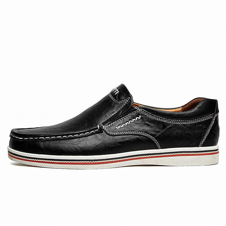 Baolustre Brand Minimalist Design Split Leather Men Dress Shoes Mens British Style Boat Shoes Big Size Driving Manflats Black 12