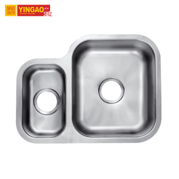 Nice Design Brush Double Bowl Kitchen Sinks Stainless Steel with Drainboard